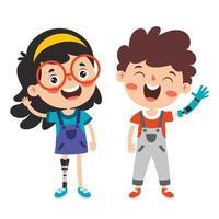 personnages de dessins animés drôles utilisant une prothèse vecteur