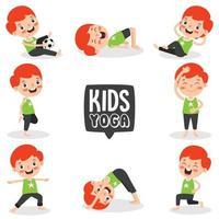 enfant drôle dans la pose de yoga vecteur