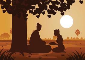 femme donnant de la nourriture au seigneur de bouddha vecteur