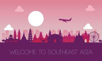 célèbre monument de l'Asie du sud-est vecteur