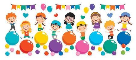 enfants drôles jouant avec des boules colorées vecteur