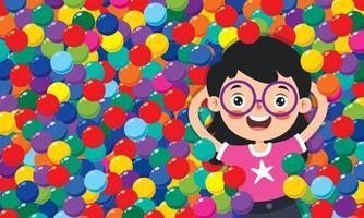 enfant drôle jouant avec des boules colorées vecteur