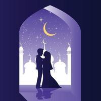 les mariés s'embrassent ensemble en moque vecteur
