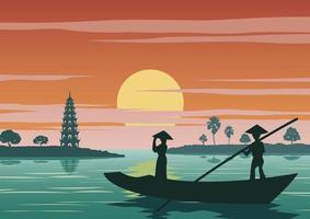Femme debout en bateau pour aller rendre hommage à la célèbre pagode tran quoc du vietnam vecteur