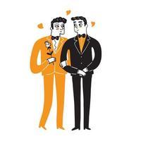 couple homosexuel célébrant l'amour vecteur