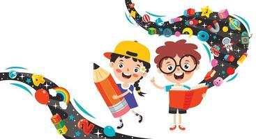 concept d & # 39; éducation avec des écoliers drôles vecteur