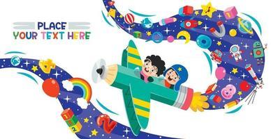 enfants drôles volant sur un crayon coloré vecteur