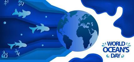 conception de coupe de papier de la journée mondiale des océans vecteur