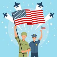 un soldat de l'armée et un policier célèbrent la fête de vecteur