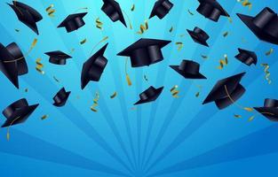 bonnets de graduation en l'air vecteur