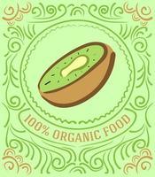 étiquette vintage avec kiwi et lettrage 100% bio vecteur