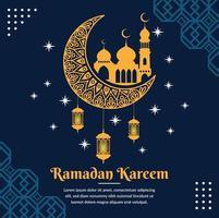 modèle de bannière de voeux ramadan kareem vecteur