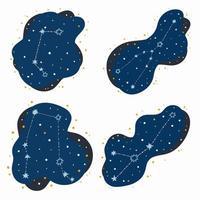 Définir les signes du zodiaque constellation mignon bélier taureau gémeaux cancer doodles étoiles dessinés à la main et points dans l'espace abstrait vecteur