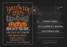 Modèle d'invitation de cartes postales de fête d'Halloween et de concours de costumes vecteur