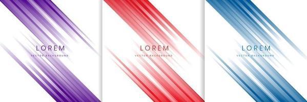 Ensemble de lignes diagonales abstraites rayure bleu rouge violet clair sur fond blanc vecteur