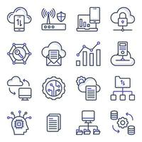pack d'icônes plates de gestion de données cloud vecteur