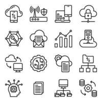 pack d'icônes linéaires de gestion de données cloud vecteur