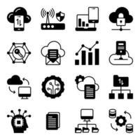 pack d'icônes de glyphe de gestion de données cloud vecteur