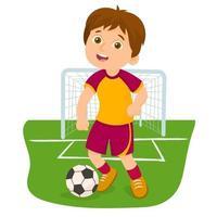 garçon jouant au football sur un terrain de sport vecteur