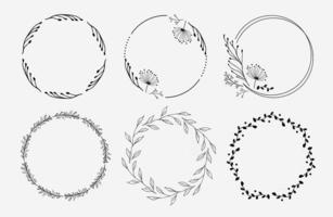 ensemble de couronnes florales création de logo de cercles floraux vecteur