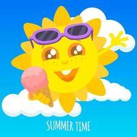 caractère de soleil d'été heureux vecteur