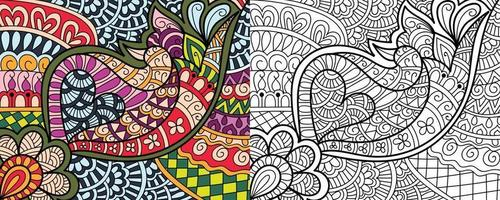 Doodle zentangle design pages de livre de coloriage pour les modèles de thérapie adultes et enfants anti-stress vecteur