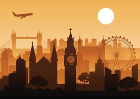 bâtiments de la ville de Londres au coucher du soleil vecteur