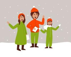 les enfants chantent des chansons de Noël vecteur