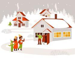 les enfants se promènent dans le village et chantent des chants de Noël vecteur
