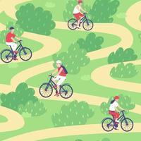 modèle sans couture de cyclistes à cheval le long du sentier en été vecteur