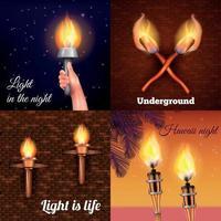 illustration vectorielle de torche lumière design concept vecteur