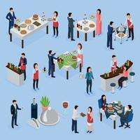 restauration banquet icônes isométriques vector illustration