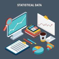 illustration vectorielle de données statistiques conception isométrique concept vecteur