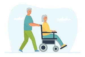 Un homme aux cheveux gris pousse un fauteuil roulant avec sa femme handicapée vecteur