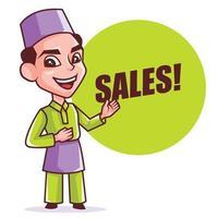 Cartoon jeune homme musulman intelligent à songkok présentant et pointant de grandes ventes enseigne verte pour le festival du ramadan vecteur