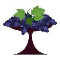 raisins avec des feuilles dans un bol de fruits illustration vectorielle de style plat vecteur
