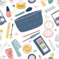 Sac cosmétique avec accessoires pour femmes crèmes ombres à paupières mascara rouge à lèvres vecteur modèle sans couture sur fond blanc