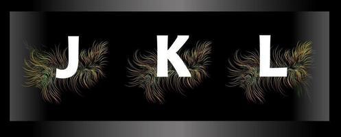 lettres de l'alphabet sur fond noir avec des plumes d'oiseaux exotiques vecteur