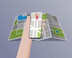 main tenant un téléphone portable avec un emplacement de carte de notification vecteur