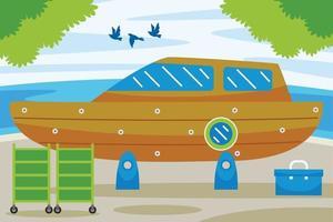 illustration vectorielle de bateau service station vecteur