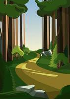 route en forêt d'été en orientation verticale vecteur