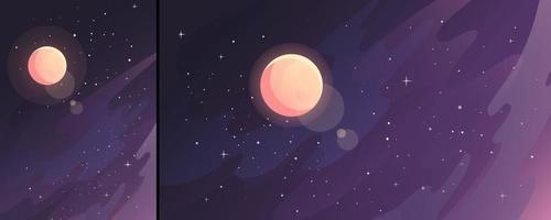 ciel étoilé avec lune brillante en orientation verticale et horizontale vecteur