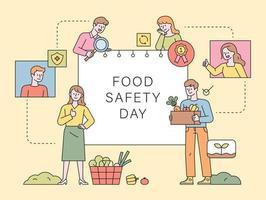 journée de la sécurité alimentaire. clients à la recherche d'aliments sains et sûrs vecteur