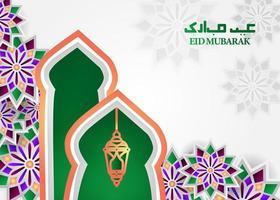 conception de fond de voeux eid mubarak vecteur