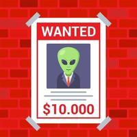 une affiche sur le mur sur la recherche d & # 39; une illustration vectorielle plane extraterrestre vecteur
