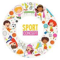 conception de concept de sport avec des enfants drôles vecteur