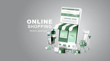 achats en ligne sur smartphone de médias sociaux avec panier de cosmétiques et d'achat et magasins numériques vecteur