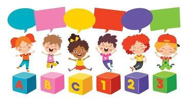 heureux, multiethnique, gosses, jouer, ensemble vecteur