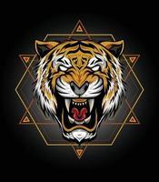 tigre tête illustration vectorielle conception de tigre pour t shirt mascotte logo sport vecteur