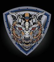 logo de loup mecha parfait pour la conception de broches de marchandises de vêtements de t-shirt et autres vecteur